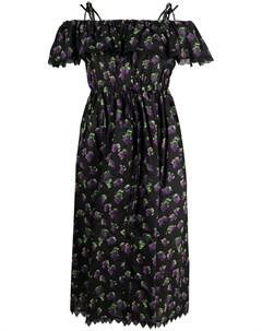 Платье с открытыми плечами и принтом Msgm
