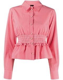 Рубашка в клетку гингем с баской Pinko