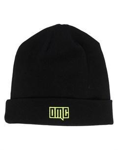 Шапка бини в рубчик с вышитым логотипом Omc