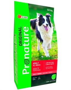Original Dog Adult All Breeds для взрослых собак всех пород с ягненком горохом и ячменем 11 3 11 3 к Pronature