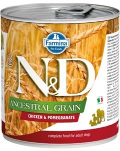 Dog N d Ancestral Grain Adult Chicken Pomegranate низкозерновые для взрослых собак всех пород с кури Farmina