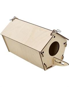 Домик для птиц Скворечник пятиугольный крепление к клетке фанера 14 27 13 см Zooexpress