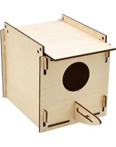 Домик для птиц Скворечник квадратный крепление к клетке фанера 13 22 14 см Zooexpress