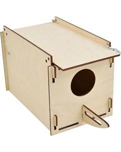 Домик для птиц Скворечник прямоугольный крепление к клетке фанера 13 27 14 см Zooexpress