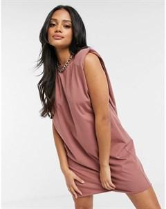 Платье футболка мини без рукавов серо коричневого цвета с подплечниками Asos design