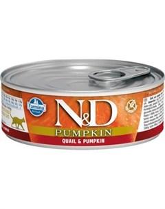 Консервы N D Adult Cat GF Pumpkin Quail беззерновой с перепелом и тыквой 80г Farmina