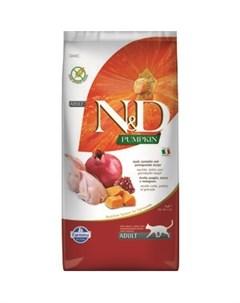 Сухой корм N D Adult Cat GF Pumpkin Quail Pomegranate беззерновой с перепелкой гранатом и тыквой для Farmina