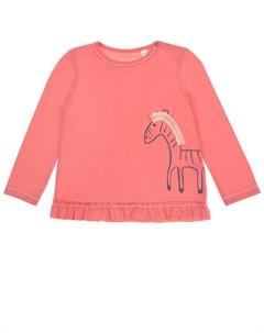 Толстовка кораллового цвета с принтом зебра детская Sanetta kidswear