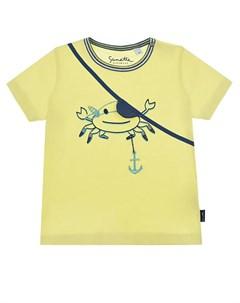 Желтая футболка с аппликацией пират детская Sanetta kidswear