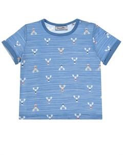 Синяя футболка с принтом раки детская Sanetta fiftyseven