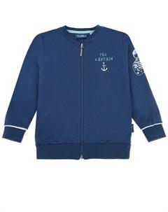 Темно синяя спортивная куртка с принтом the captain детское Sanetta kidswear