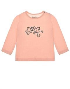 Розовая толстовка с принтом осьминог детская Sanetta kidswear