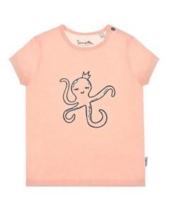 Розовая футболка с вышивкой осьминог детская Sanetta kidswear
