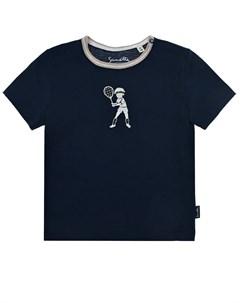 Синяя футболка с вышивкой теннисист детская Sanetta fiftyseven