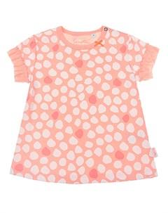 Футболка персикового цвета с принтом в горошек детская Sanetta kidswear