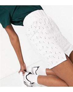 Белая мини юбка с вышивкой бродери присборенным поясом и разрезами по нижнему краю ASOS DESIGN Tall Asos tall