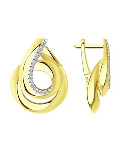 Серьги из желтого золота с родированием с бриллиантами Sokolov