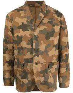 Однобортный пиджак с камуфляжным принтом Casey casey