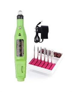 Аппарат для маникюра Фрезер ручка набор фрез зеленый Ice nova