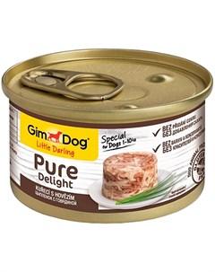 Pure Delight для взрослых собак с курицей и говядиной в желе 85 гр х 12 шт Gimdog