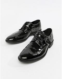 Черные лакированные броги с ремешками Черный Asos edition