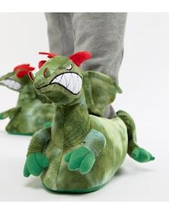 Зеленые слиперы с драконом Зеленый Asos design