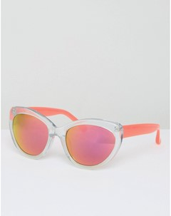 Солнцезащитные очки с блестками и неоновыми розовыми стеклами Розовый Markus lupfer