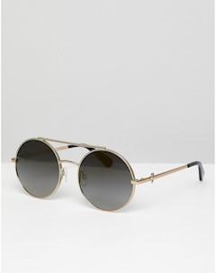 Круглые солнцезащитные очки в золотистой оправе с двойной планкой LOVE Moschino Love moschino