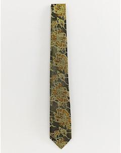 Золотистый галстук с цветочным принтом Золотой Burton menswear