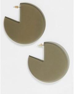 Однотонные серьги кольца Серый Asos design