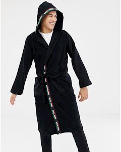 Хлопковый халат с разноцветной отделкой MOSCHINO Черный Moschino