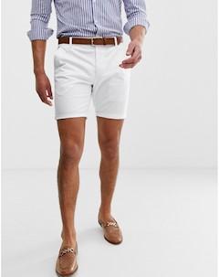 Белые шорты чиносы зауженного кроя Белый Asos design