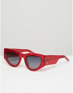 Красные солнцезащитные очки кошачий глаз с блестками Naomi Красный Vow london