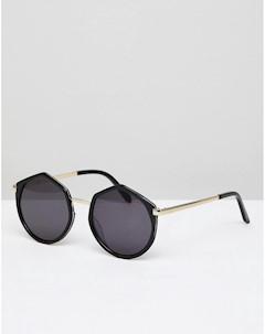 Черные большие круглые солнцезащитные оversize очки Leah Черный Vow london