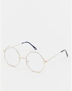 Очки в золотистой восьмиугольной оправе Inspired эксклюзивно для ASOS Золотой Reclaimed vintage