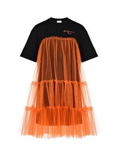 Платье с оранжевой юбкой Stella jean