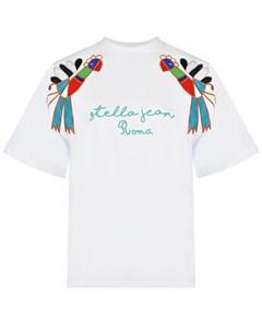 Белая футболка с аппликациями Stella jean