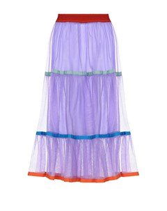 Сиреневая юбка с разноцветными лентами Stella jean