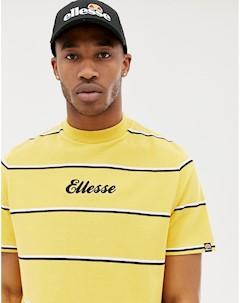 Желтая свободная футболка в полоску с логотипом Желтый Ellesse