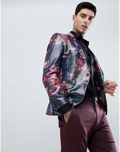 Розовый супероблегающий блейзер с пайетками Розовый Twisted tailor