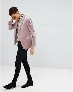 Бархатный блейзер скинни Moss London Розовый Moss bros