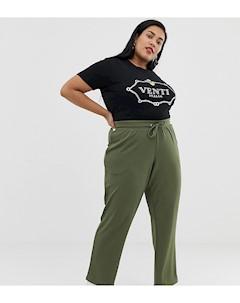 Зеленые брюки с широкими штанинами Серый Junarose
