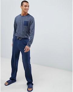 Хлопковый пижамный комплект темно синего цвета с длинными рукавами Темно синий Tokyo laundry