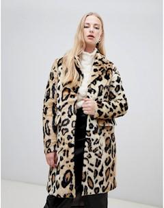 Искусственная шуба с леопардовым принтом Коричневый Vero moda