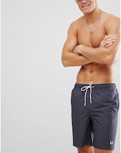 Темно серые шорты для плавания с логотипом Серый Fred perry