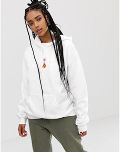 Худи с принтом огня Белый Adolescent clothing