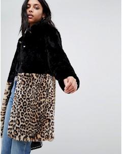 Искусственная шуба с леопардовым принтом Barneys Originals Черный Barneys originals