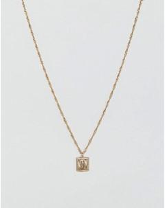 Золотистое ожерелье с медальоном совереном Золотой Asos design