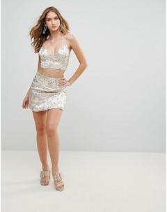 Атласная мини юбка с принтом Wyldr
