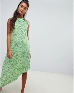 Платье миди с цветочным принтом и пуговицами Asos design